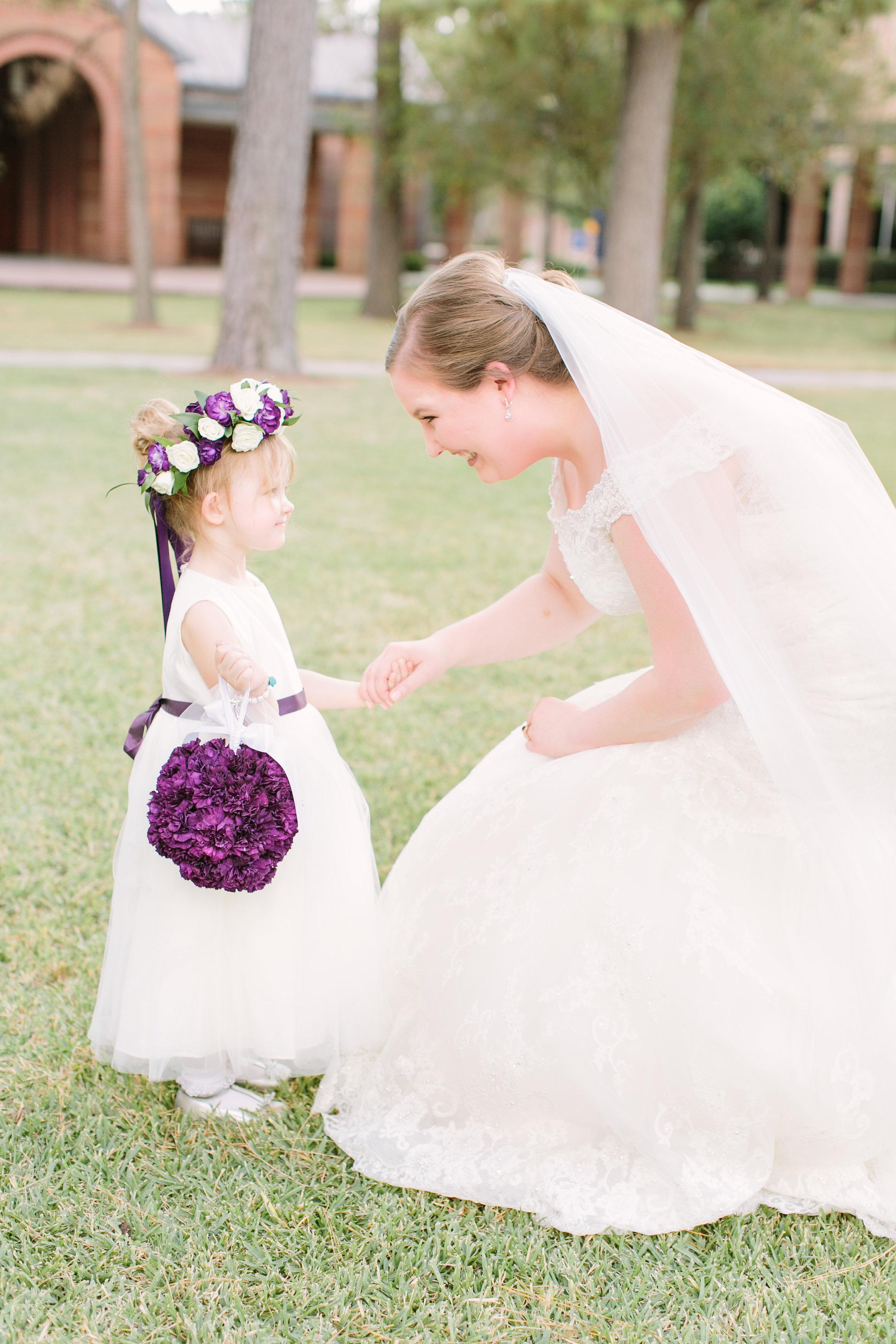 bride flower girl pomander purple wedding florist richmond virginia