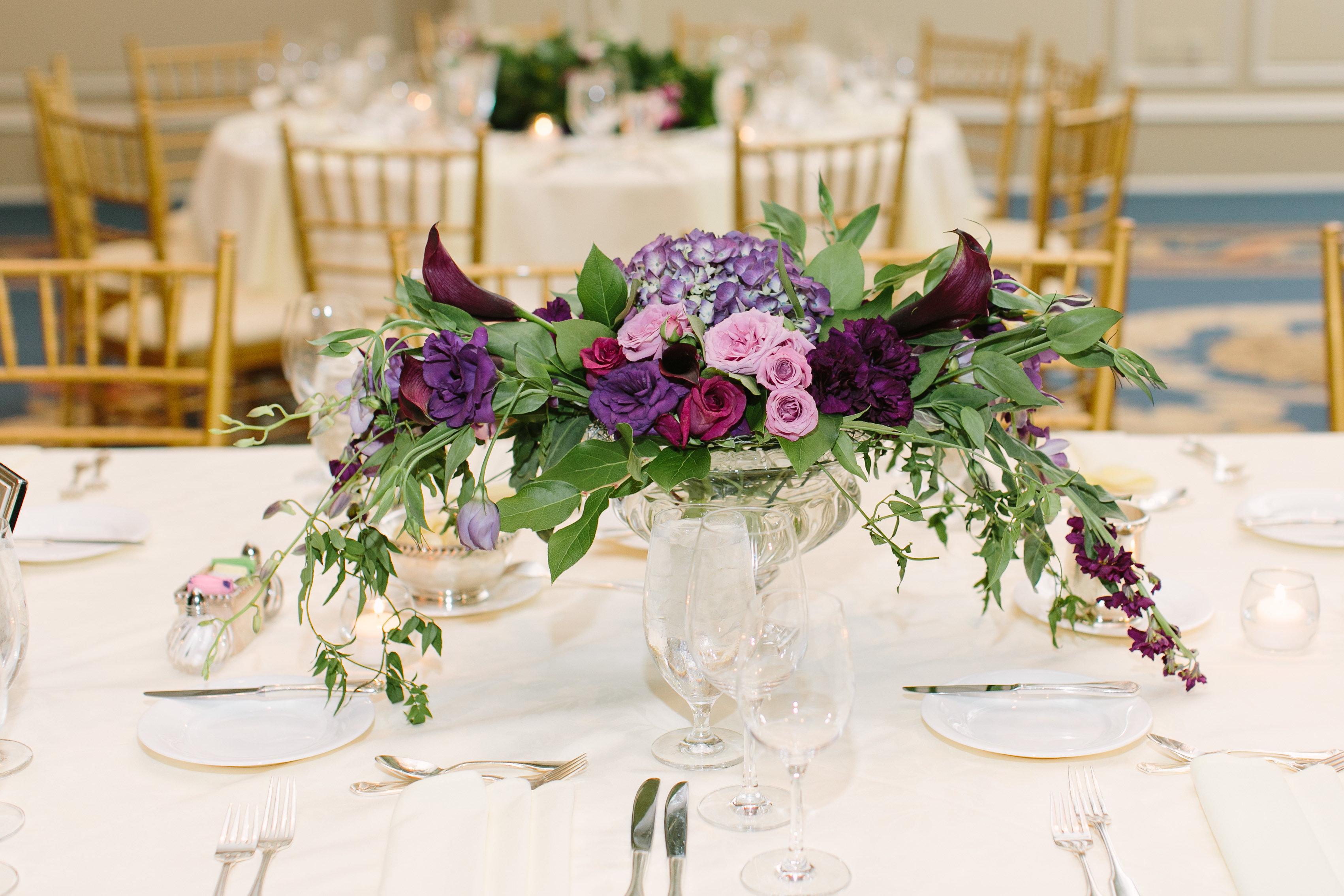 compote centerpiece purple richmond wedding florist virginia