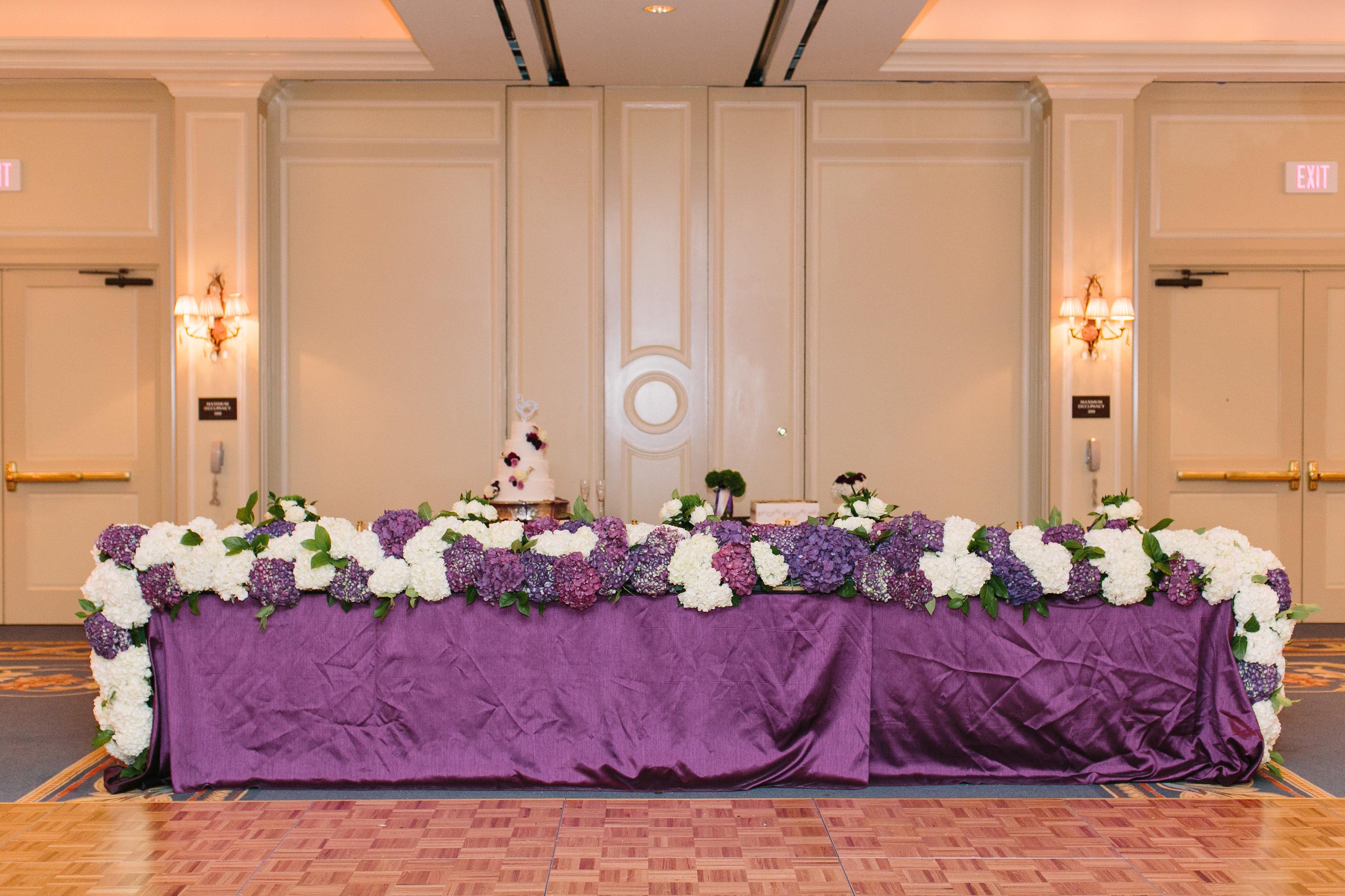 head table flowers purple flowers richmond virginia wedding florist
