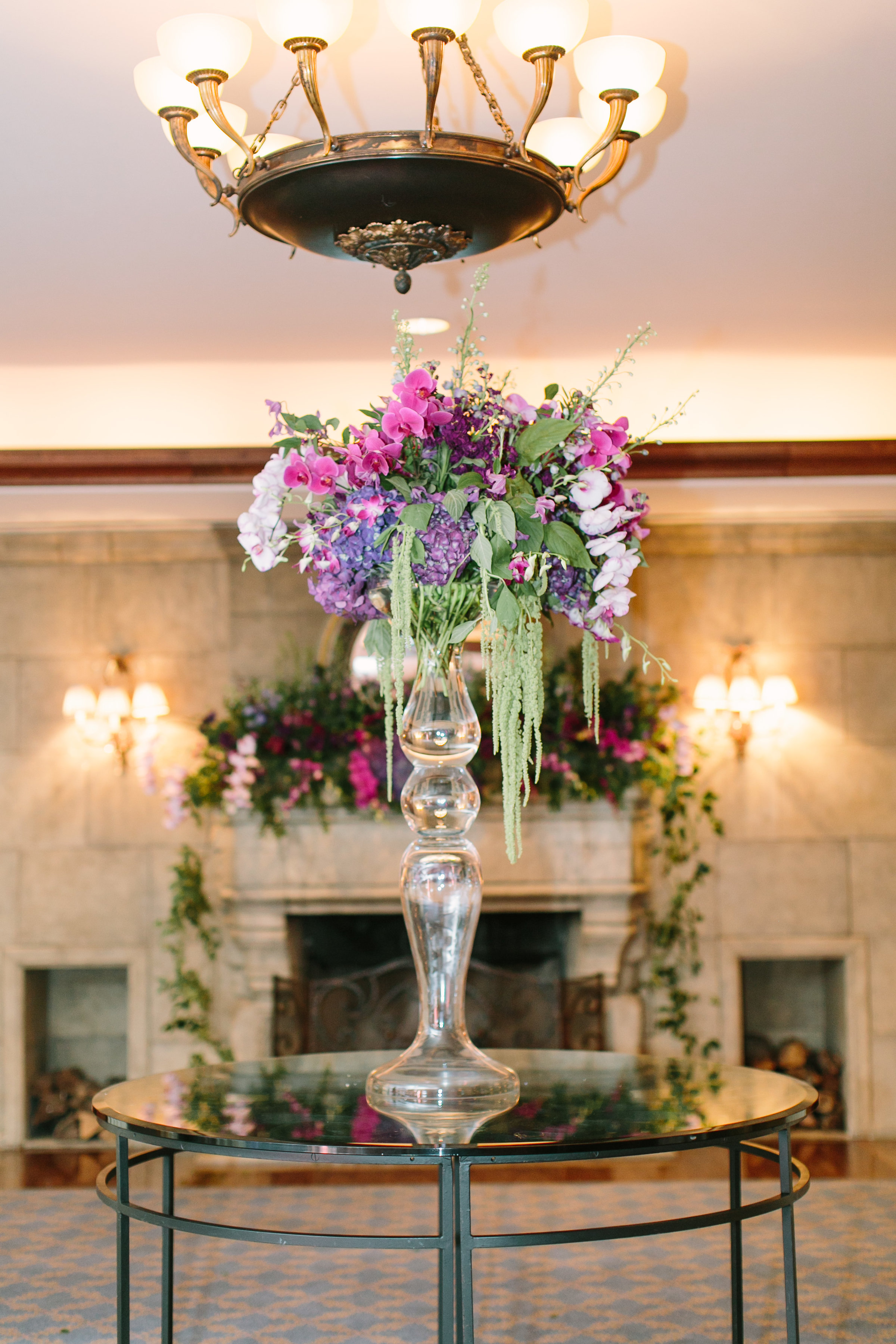 ballroom arrangement wedding flowers purple richmond virginia wedding florist