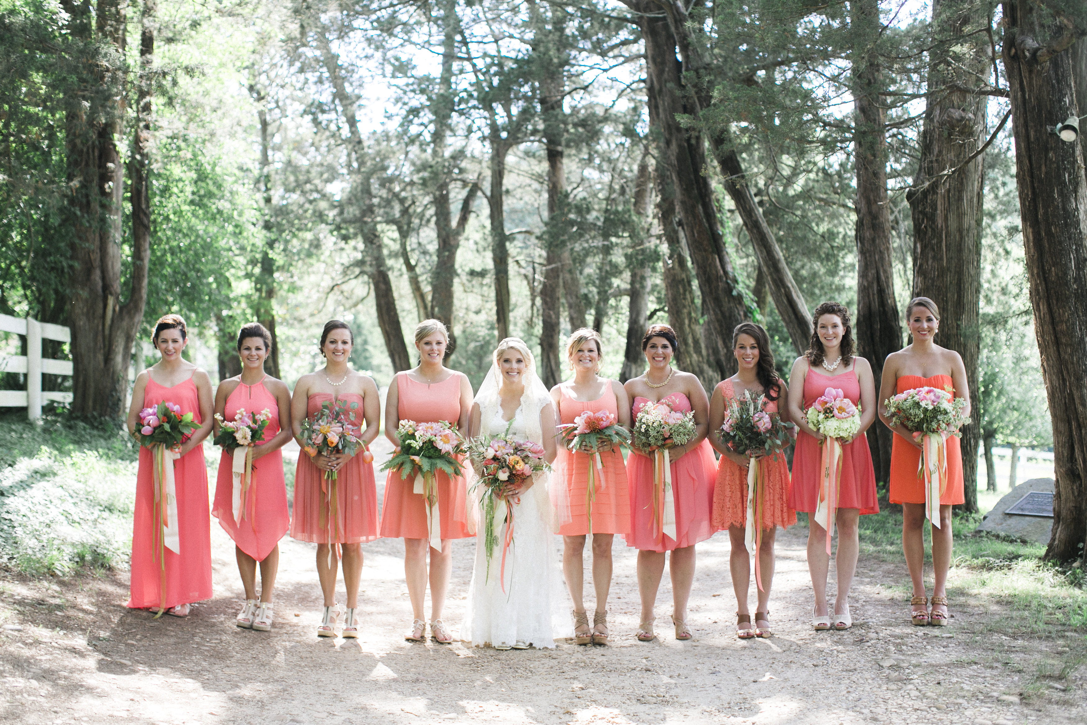 wedding party coral flowers florist richmond virginia tuckahoe plantation