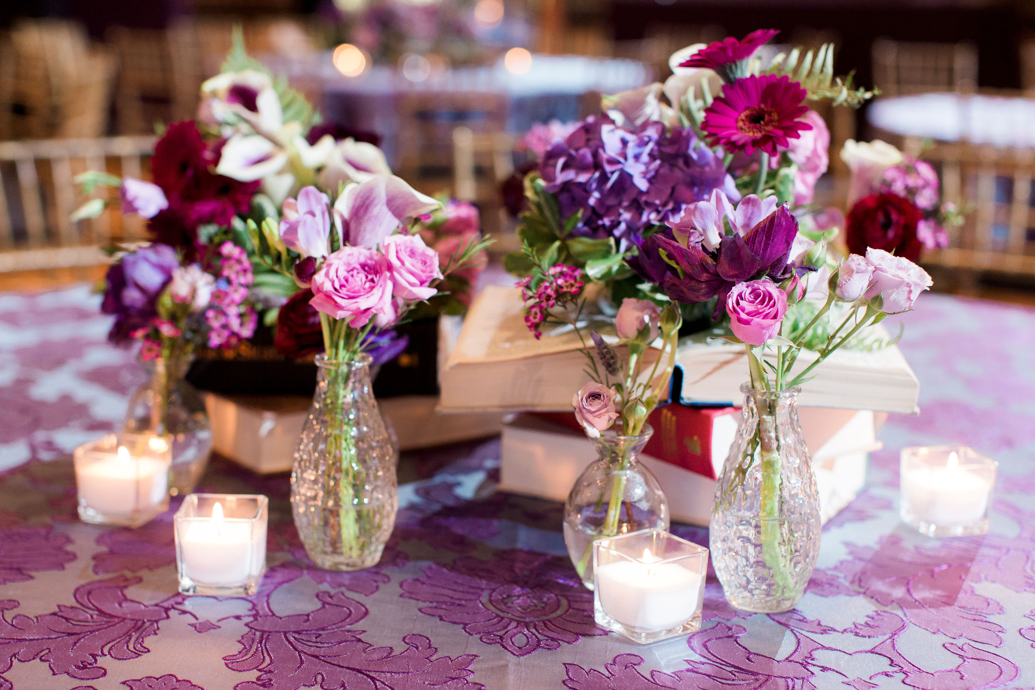 tablescapes wedding table centerpieces purple flowers groupings richmond virginia wedding florist