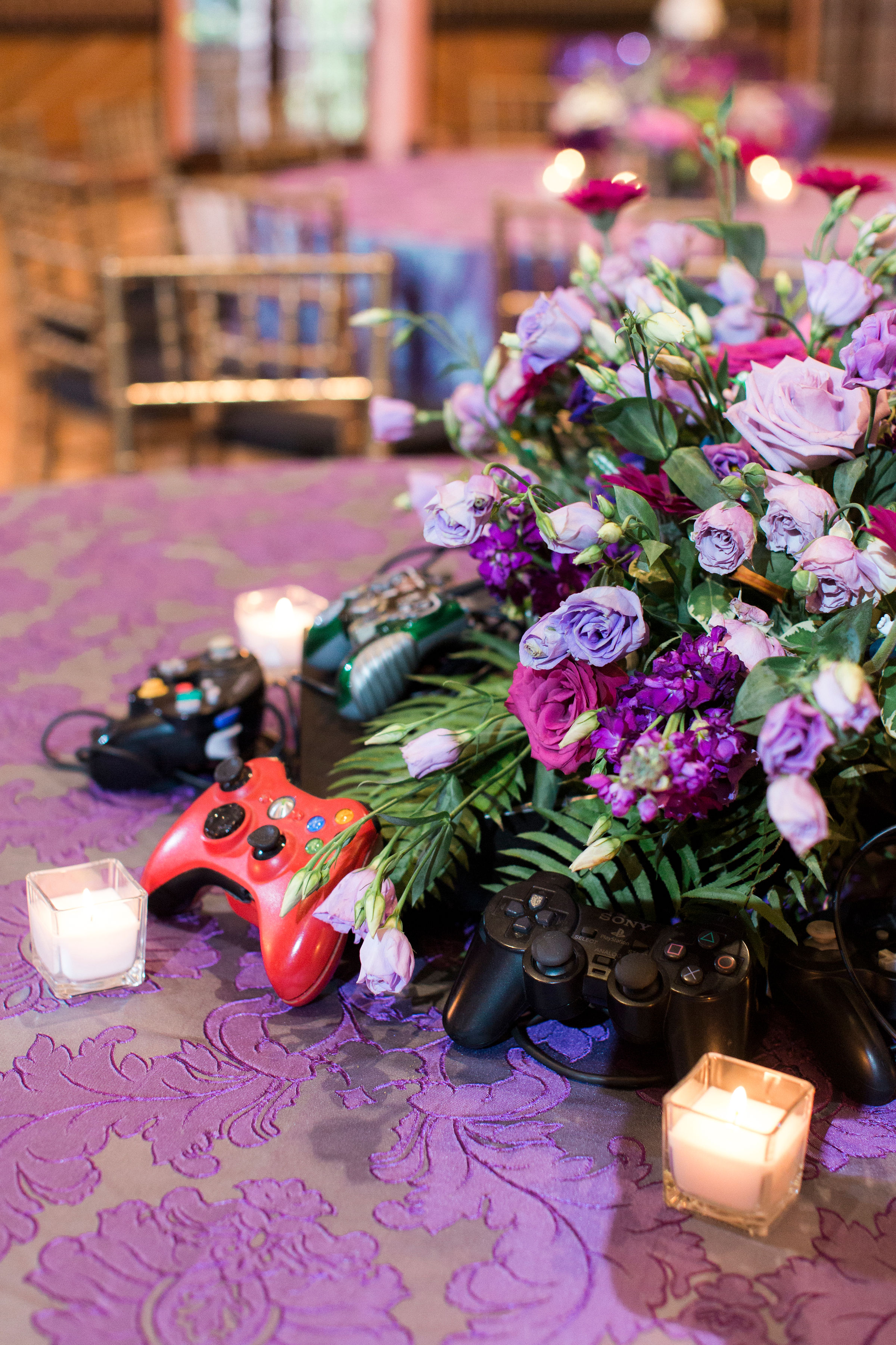purple wedding flowers table centerpiece tablescape bolling haxall house richmond virginia wedding florist