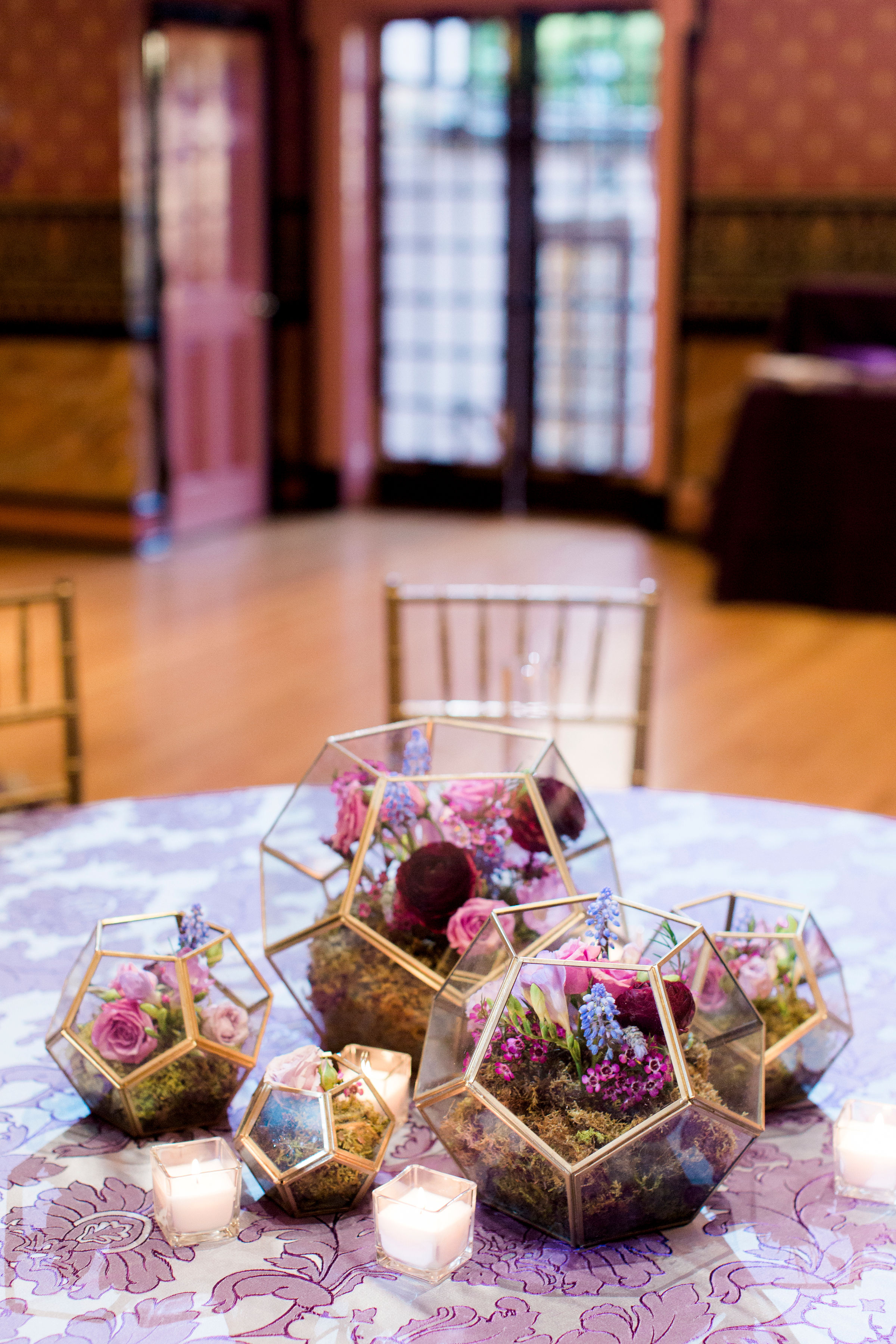 wedding centerpiece purple flowers bolling haxall house richmond virginia wedding florist floral grouping