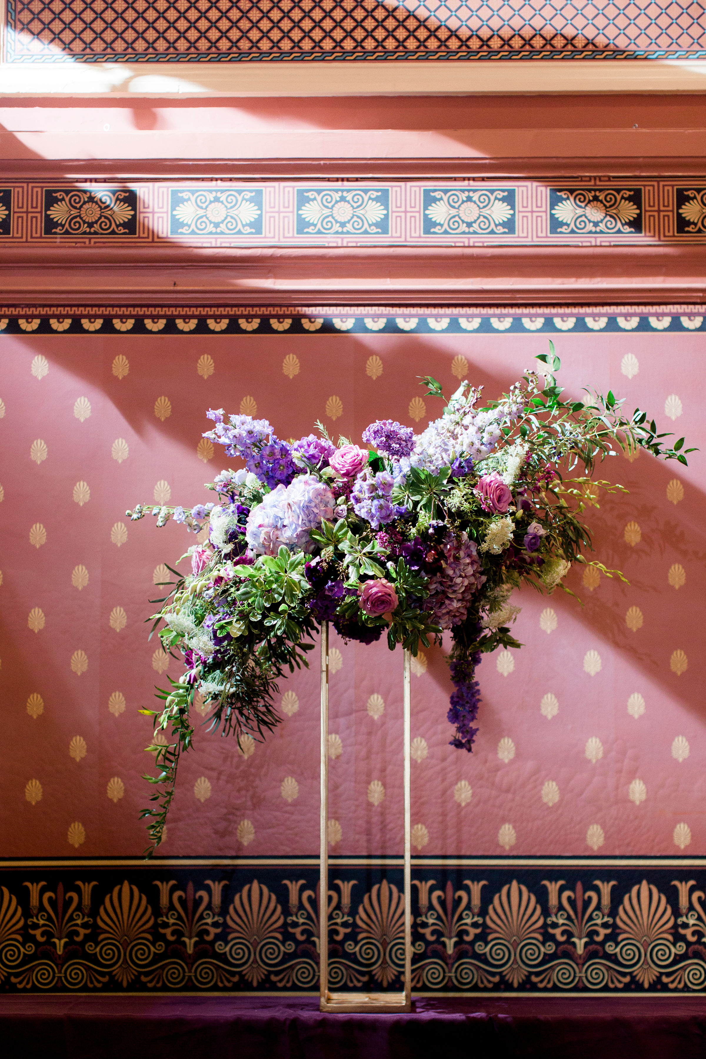 purple buffet arrangement purple wedding flowers bolling haxal house richmond virginia wedding florist