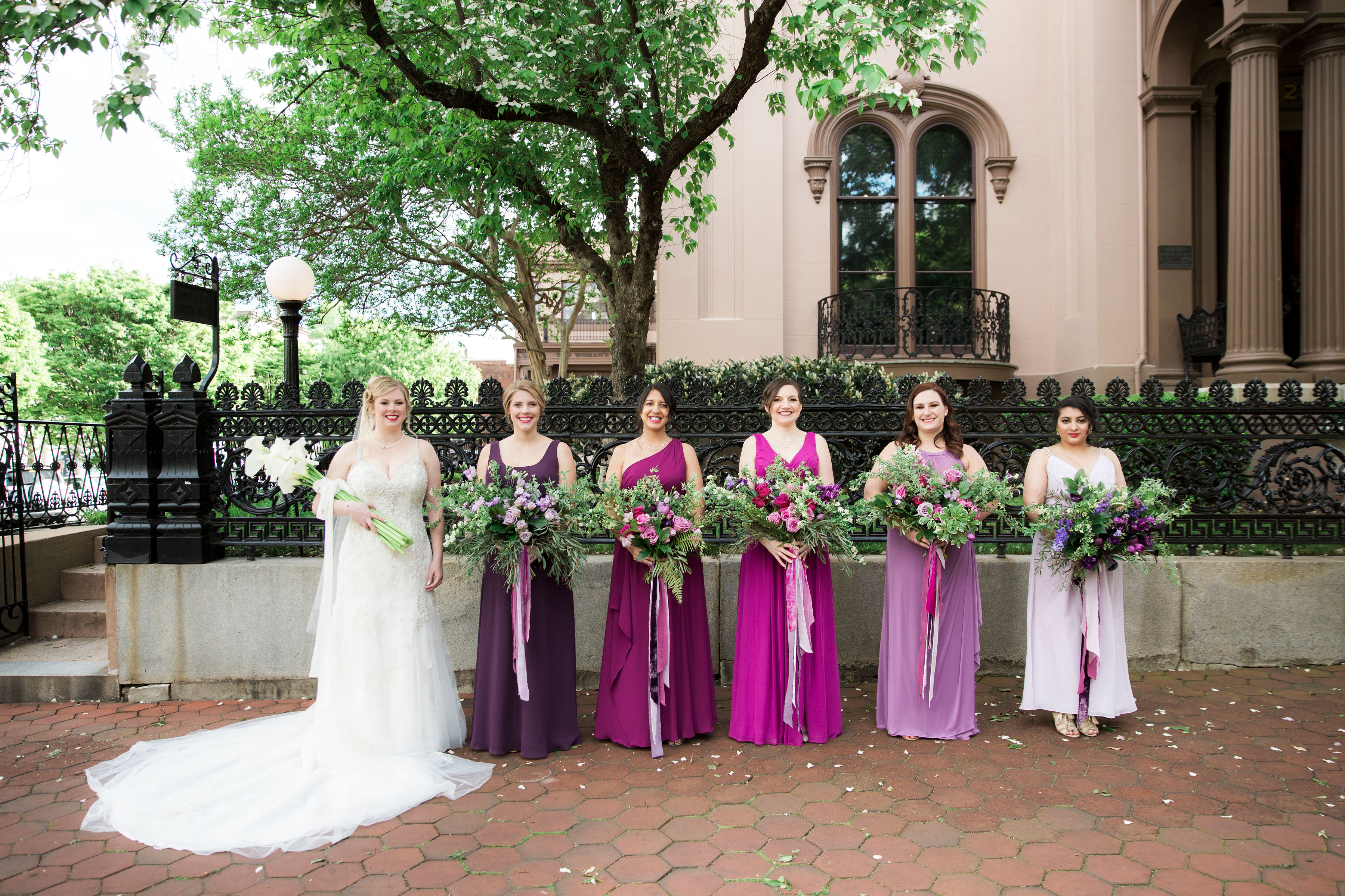 bridal bouquet bridesmaid bouquet purple wedding flowers bolling haxal house richmond virginia wedding florist ombre bridesmaid bouquets