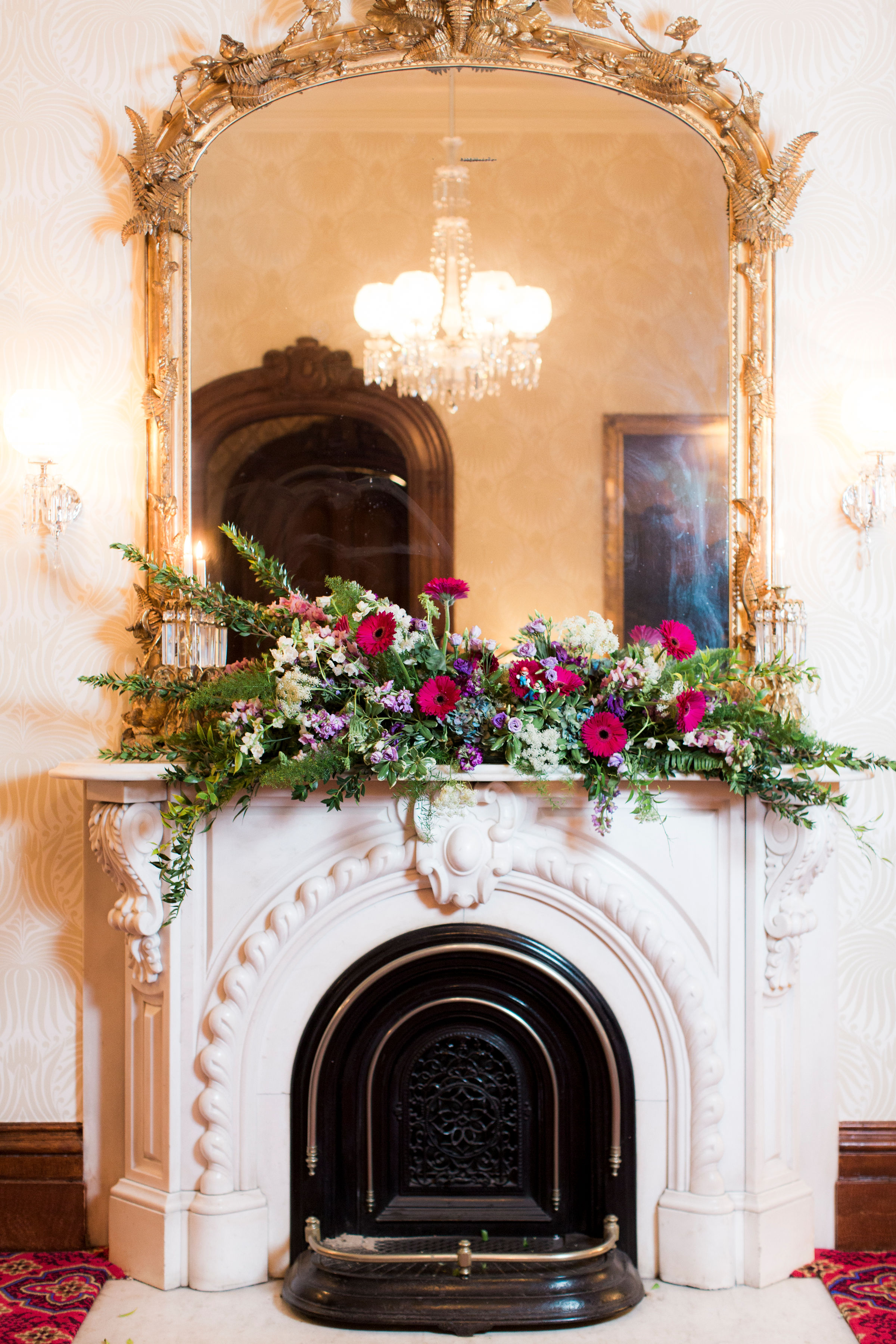mantel floral arrangement wedding flowers bolling haxal house richmond virginia wedding florist