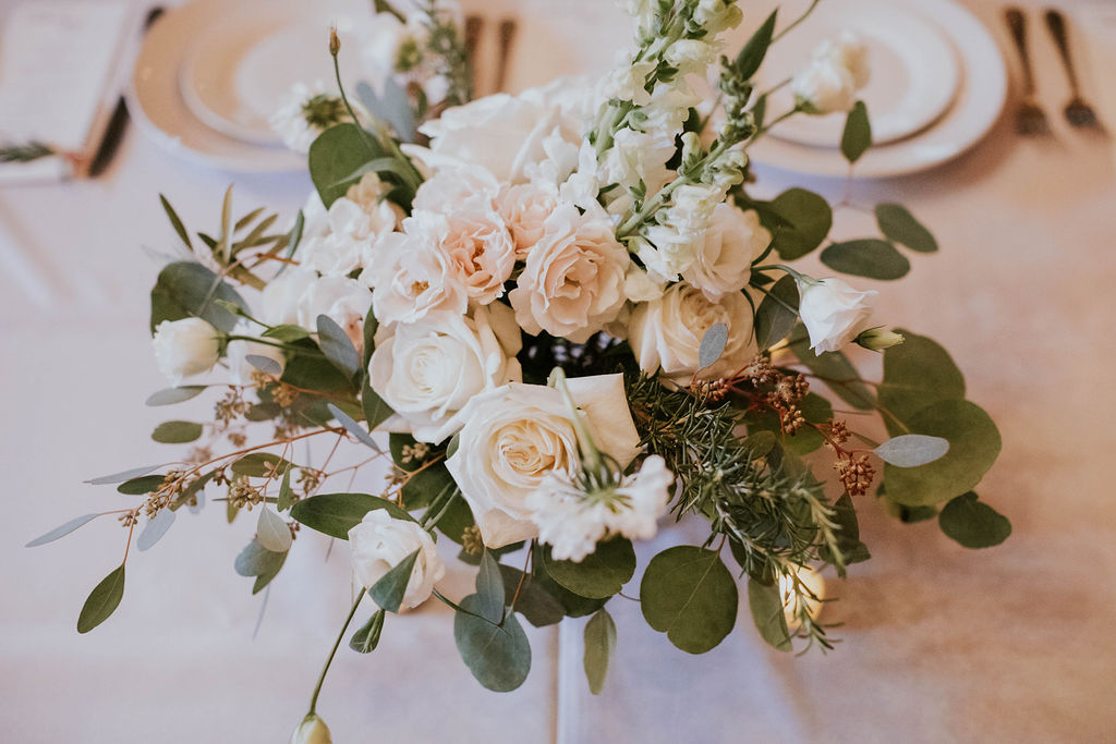 white table centerpiece guest table decor wedding flowers richmond wedding florist virginia wedding florist white floral centerpiece