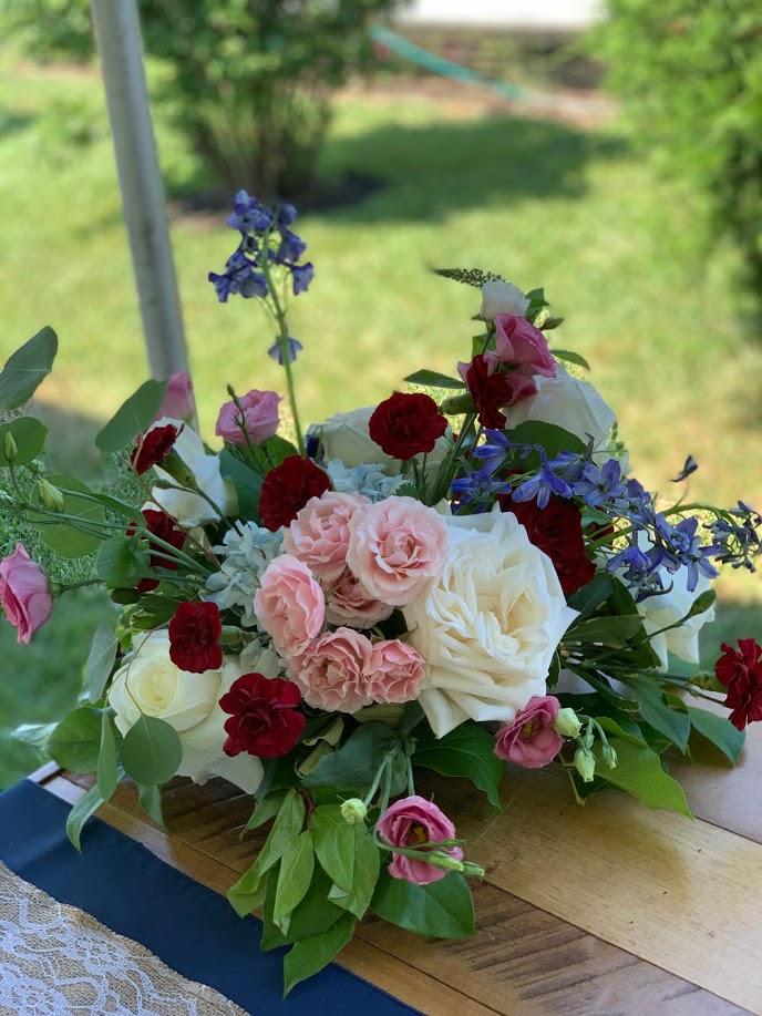 tablescapes burgundy blush and blue centerpiece wedding flowers richmond wedding florist virginia wedding florist