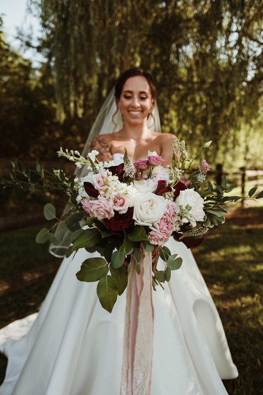 garden style bridal bouquet blush and burgundy silk velvet ribbon wedding florist richmond virginia wedding flowers