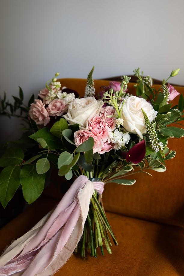 burgundy and blush wedding bouquet bridal bouquet garden style bridal bouquet silk velvet ribbon