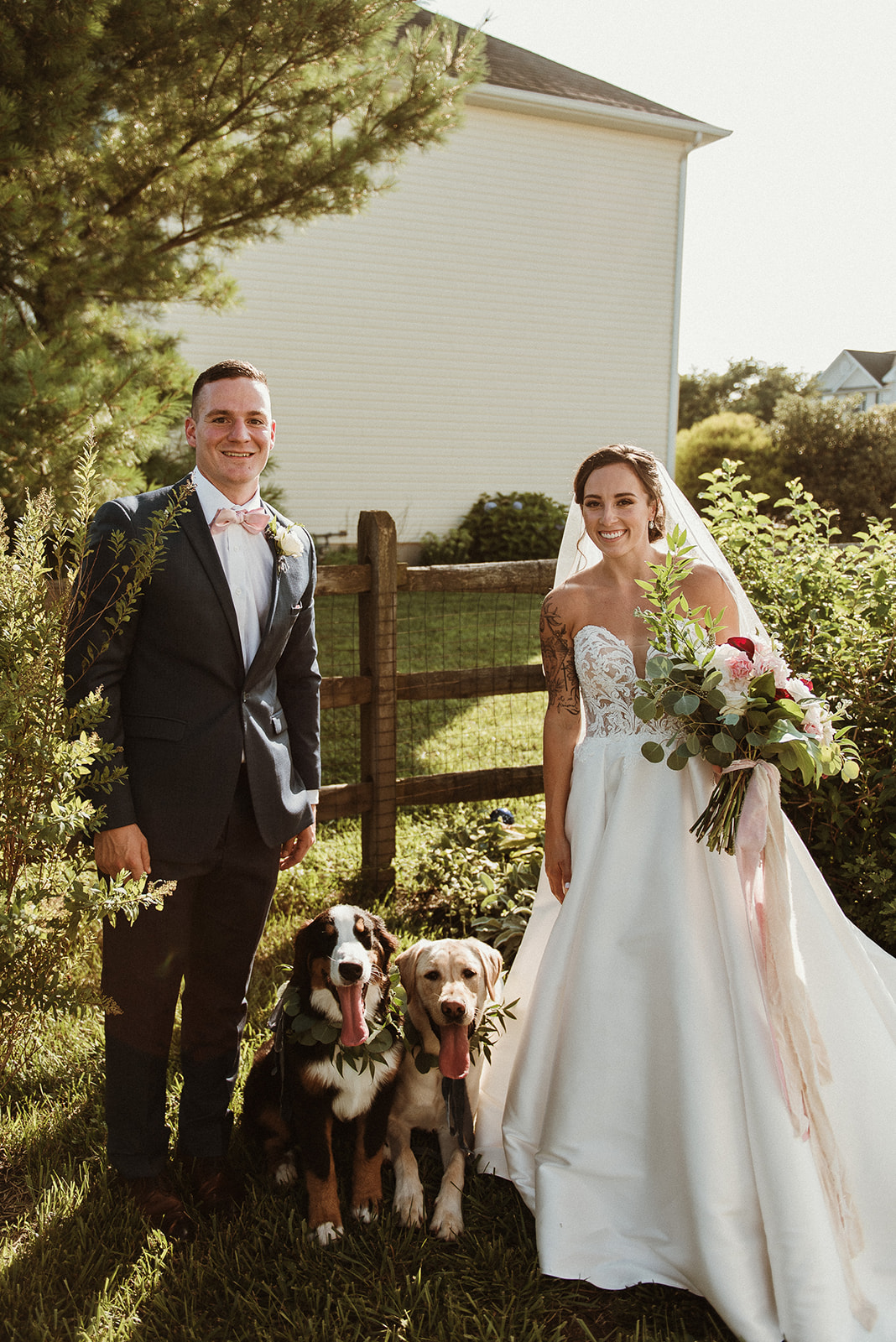 backyard weddings bridal bouquet dog flower collars richmond wedding florist garden style bouquet