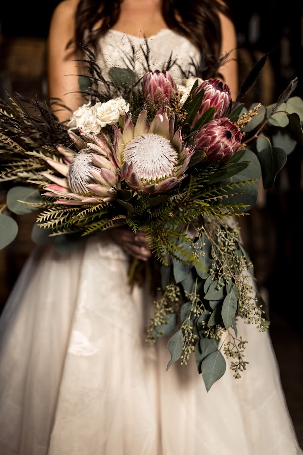 Boho bridal bouquet richmond virginia wedding florist bridal bouquet protea wedding bouquet vasen brewery