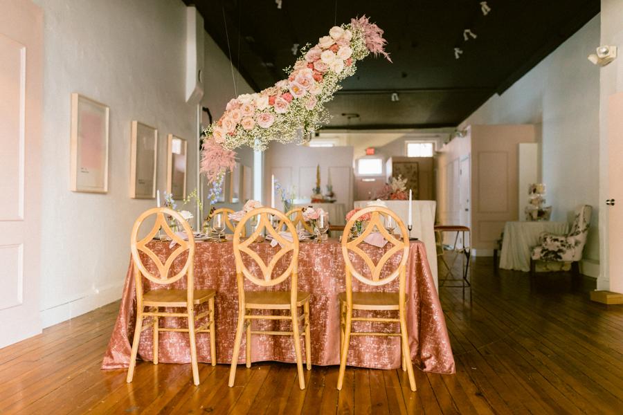 tablescape hanging floral arrangement floating flower arrangement wedding flowers quirk hotel rva richmond virginia wedding florist