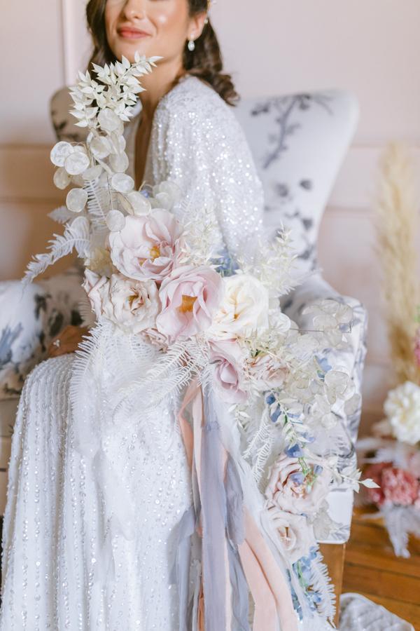 Hogarth curve bouquet unique bridal bouquet bleached greenery bouquet mauve and dusty blue bouquet bridal bouquet quirk hotel rva richmond virginia florist