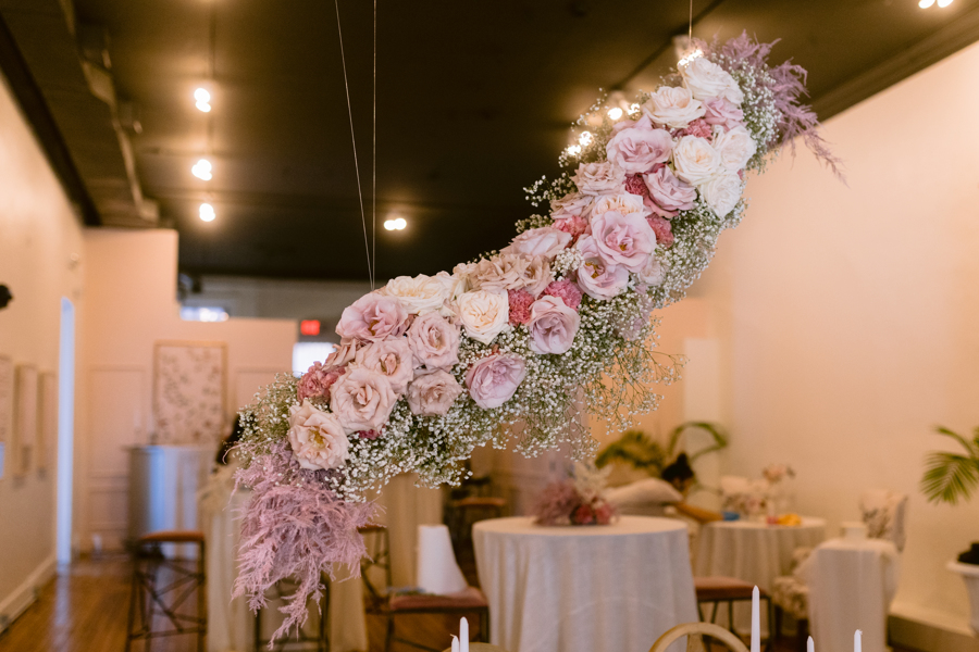 hanging floral design floating flowers wedding flowers quirk hotel rva richmond wedding florist