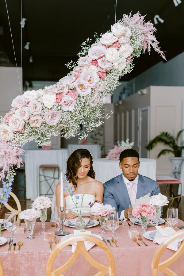 hanging floral arrangement table decor mauve flowers wedding flowers floating flowers quirk hotel rva richmond virginia wedding florist