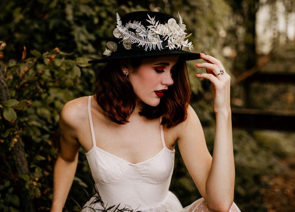 bohemain wedding hat bleached fauna maryann blooms richmond florist virginia