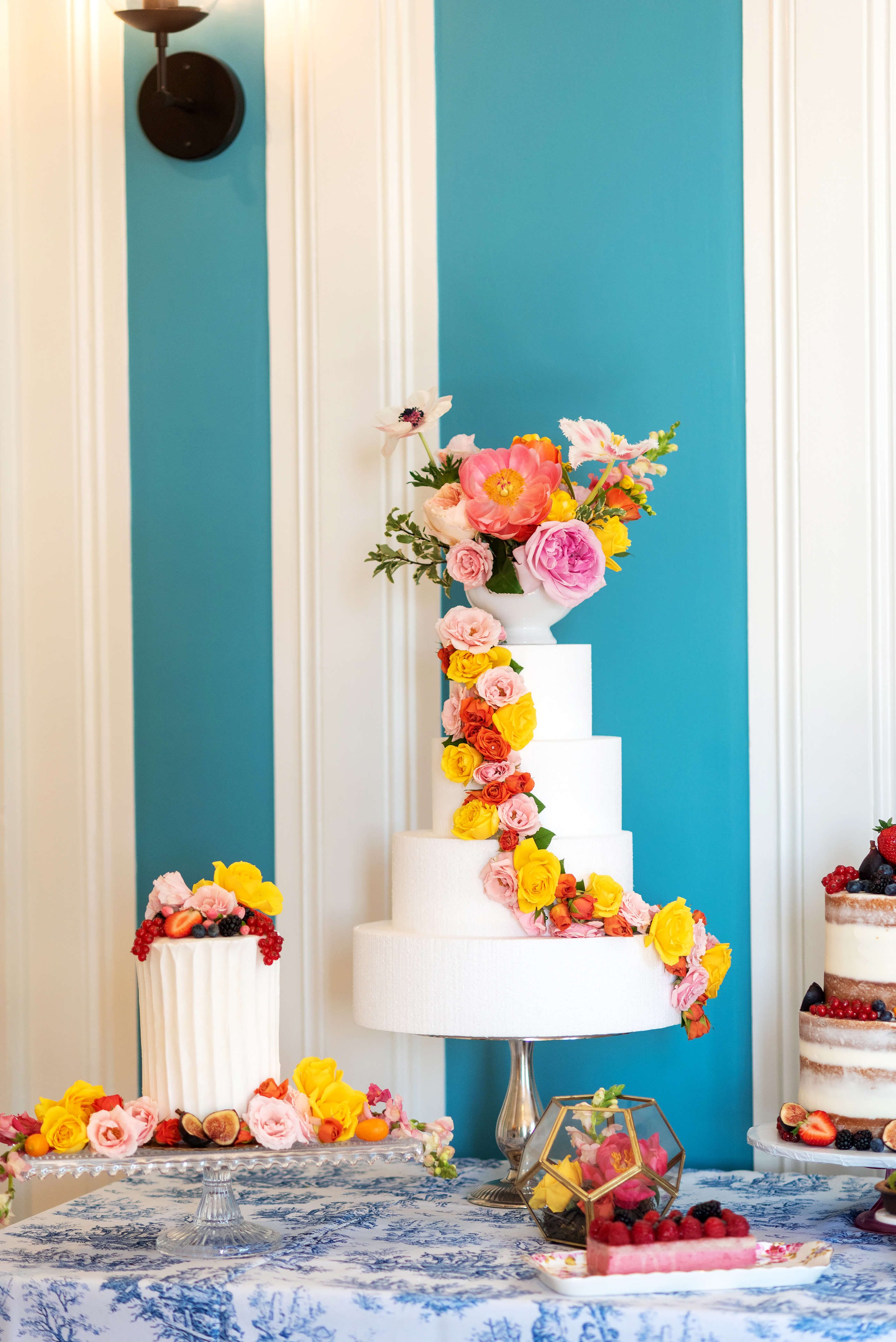 colorful flowers wedding cake richmond virginia florist