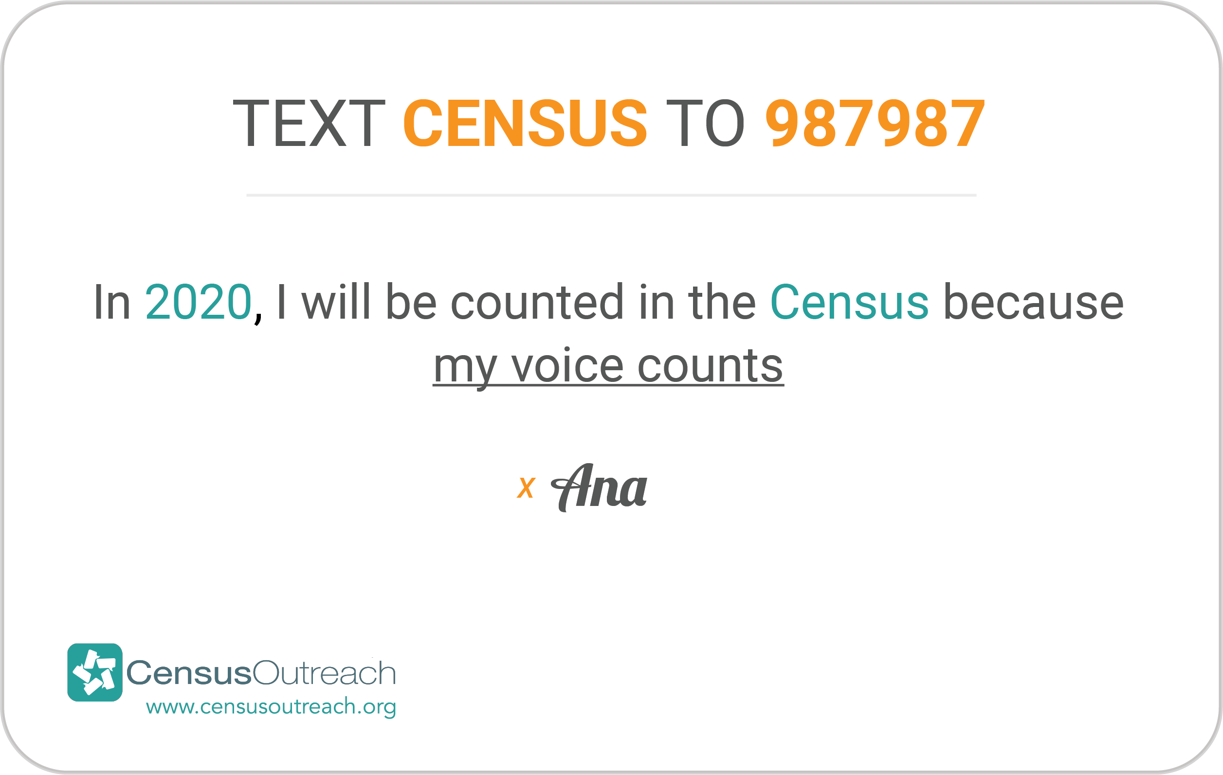 "2020 Pledge Card ""Text Census to 987987"""