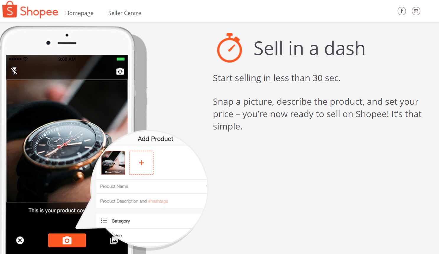 screenshot of shopee platform