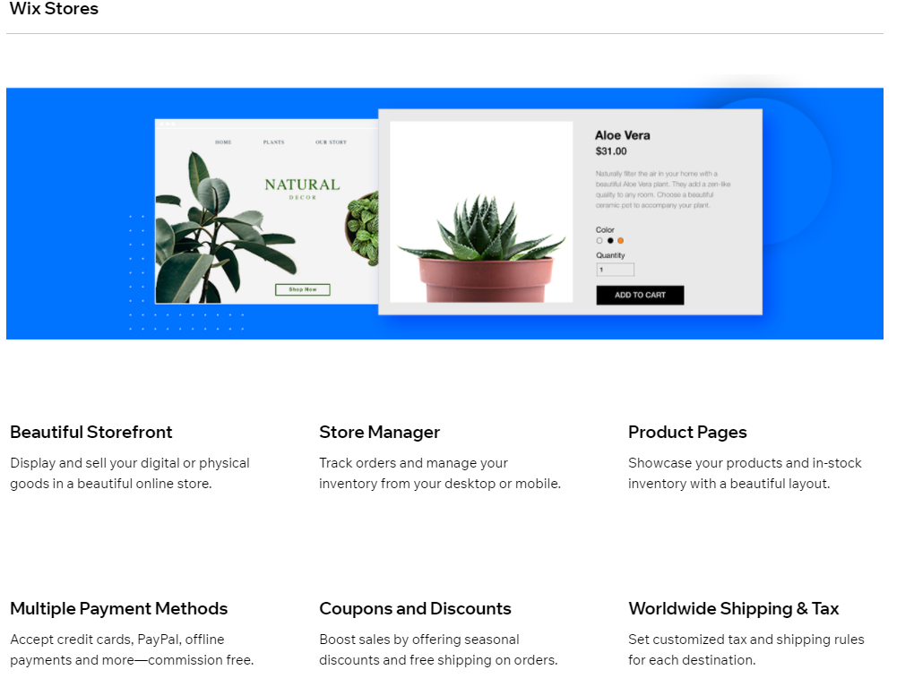 screenshot of Wix eCommerce Stores