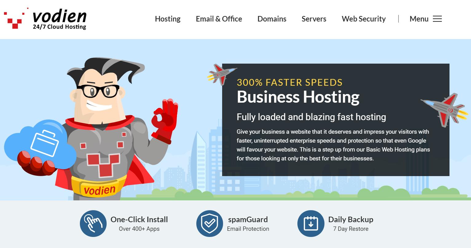 screenshot of vodien homepage