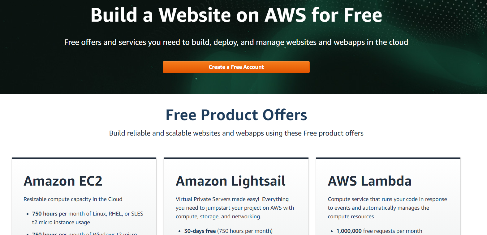 screenshot of aws product offers