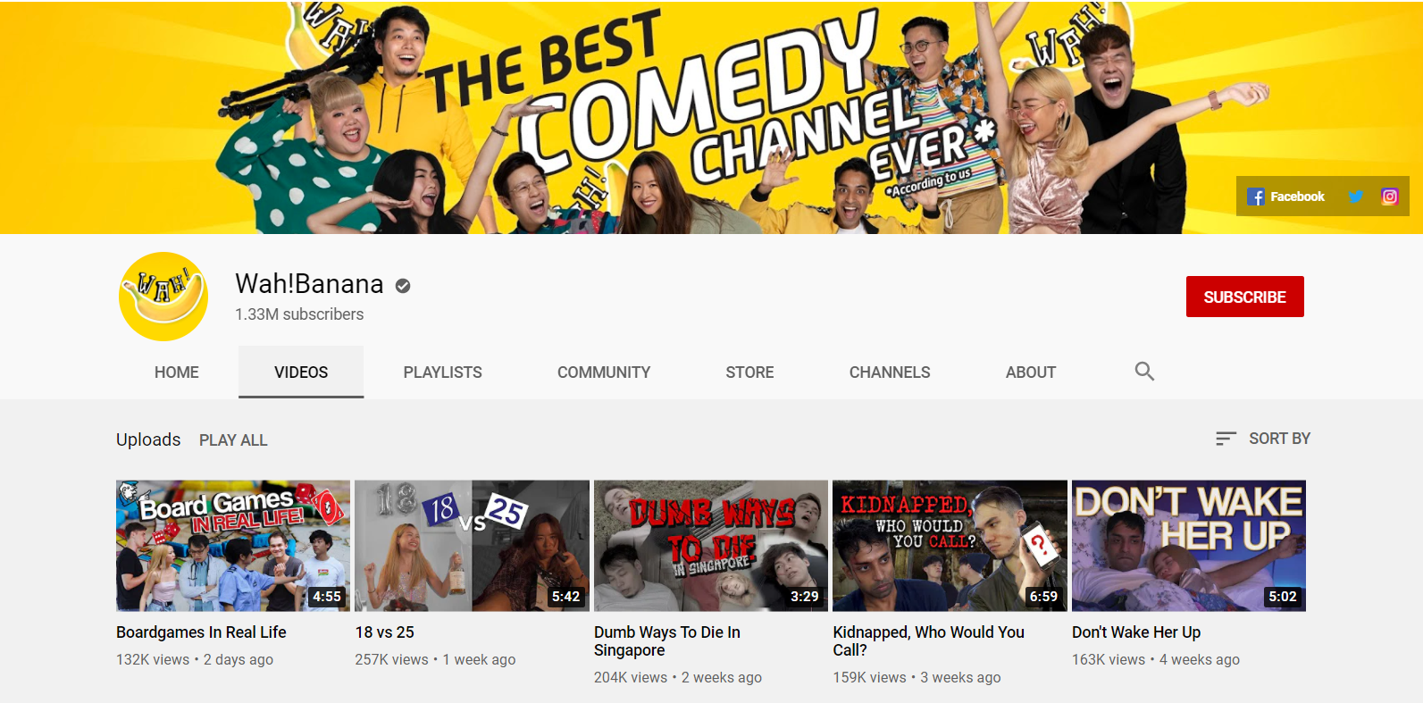 Wah!Banana YouTube Channel Page