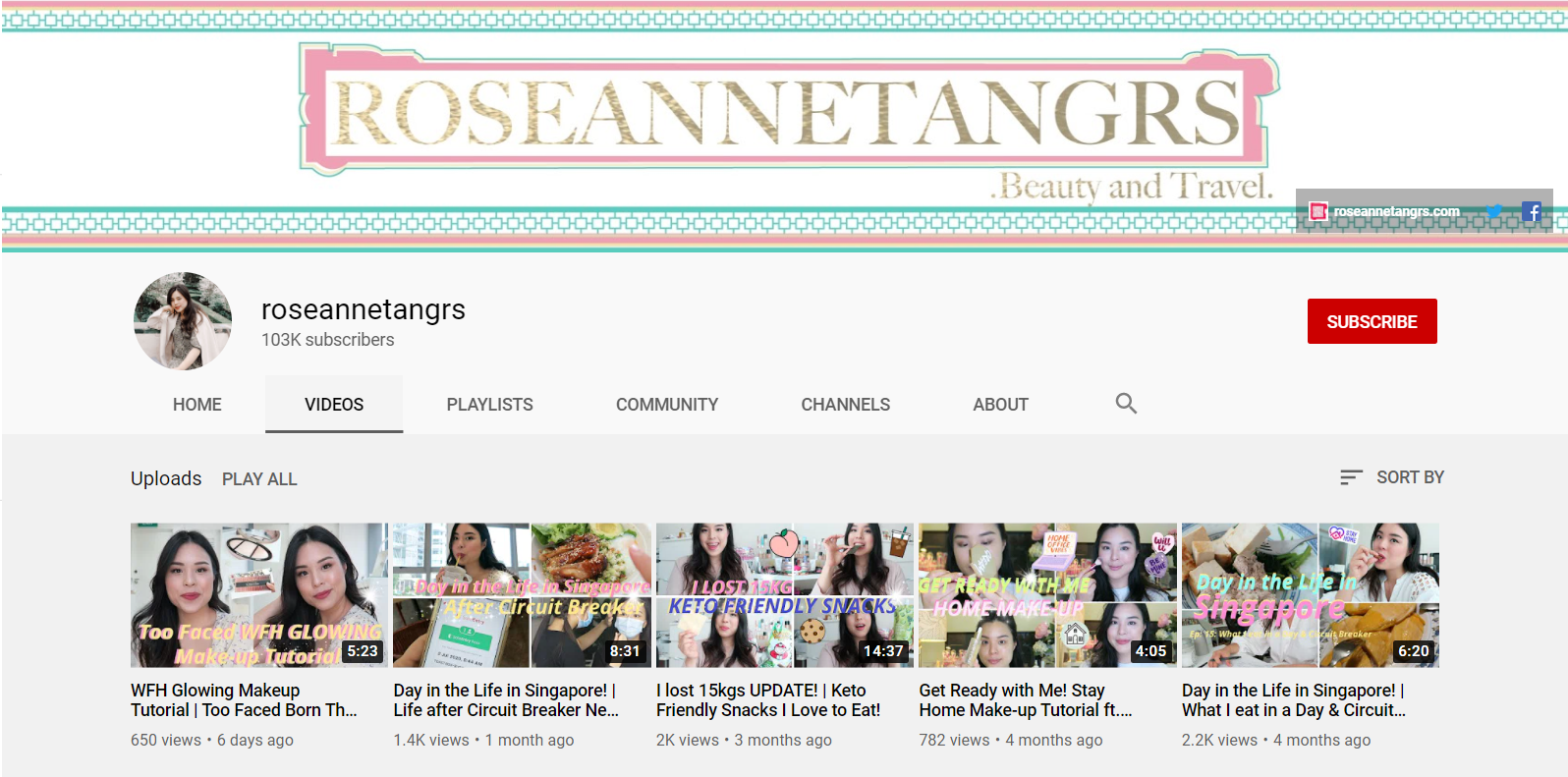 Roseann Tang YouTube Channel Page