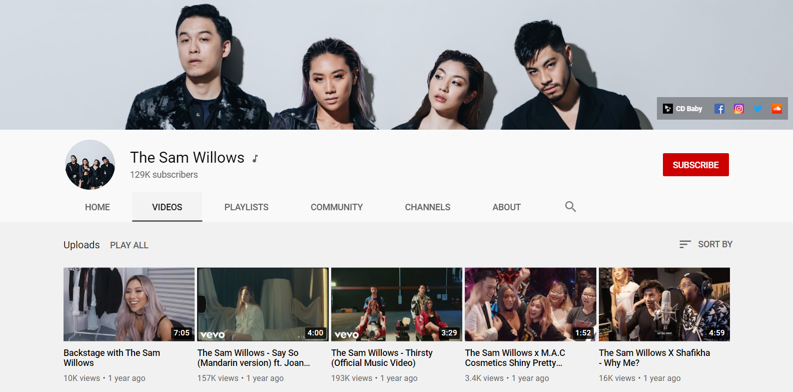 Sam Willows YouTube Channel Page