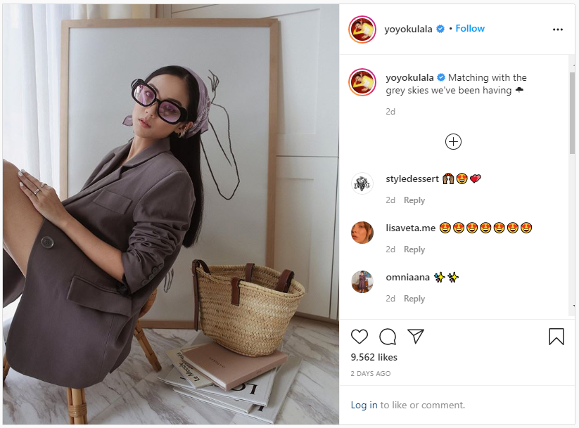 screenshot of one of yoyo cao's instagram posts