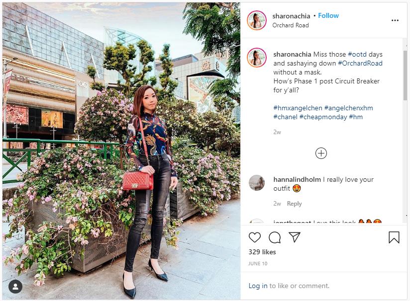 screenshot of one of sharon chia's instagram posts