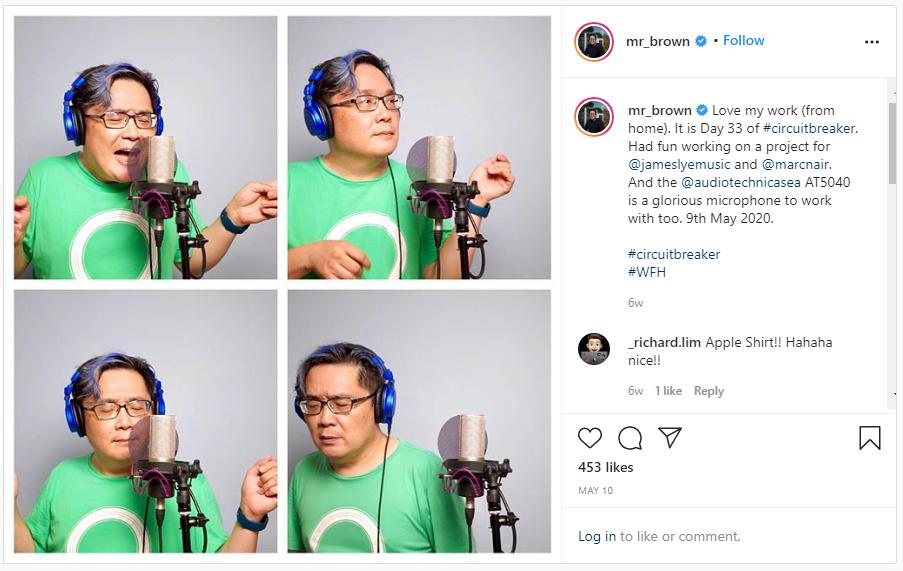 screenshot of one of mr brown's instagram posts