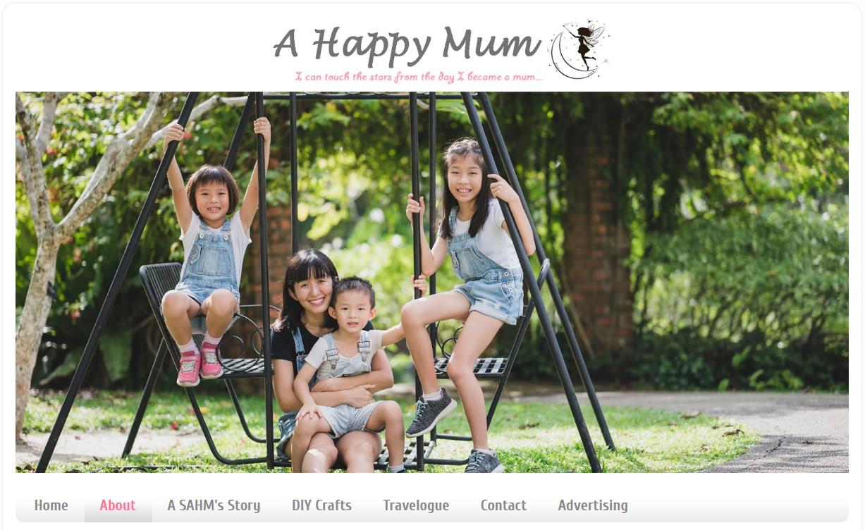 screenshot from a happy mum's website