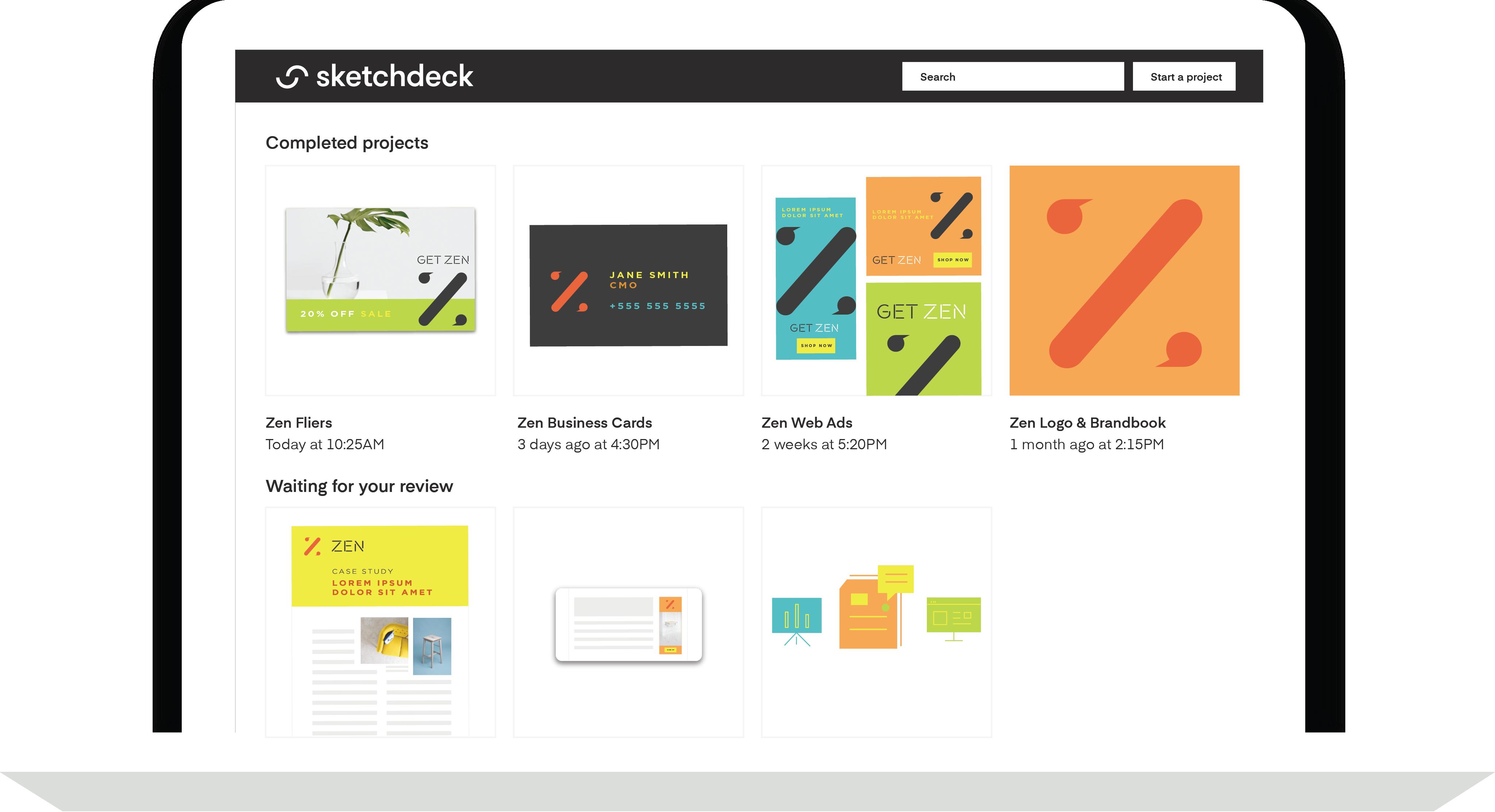 Mockup of the SketchDeck dashboard