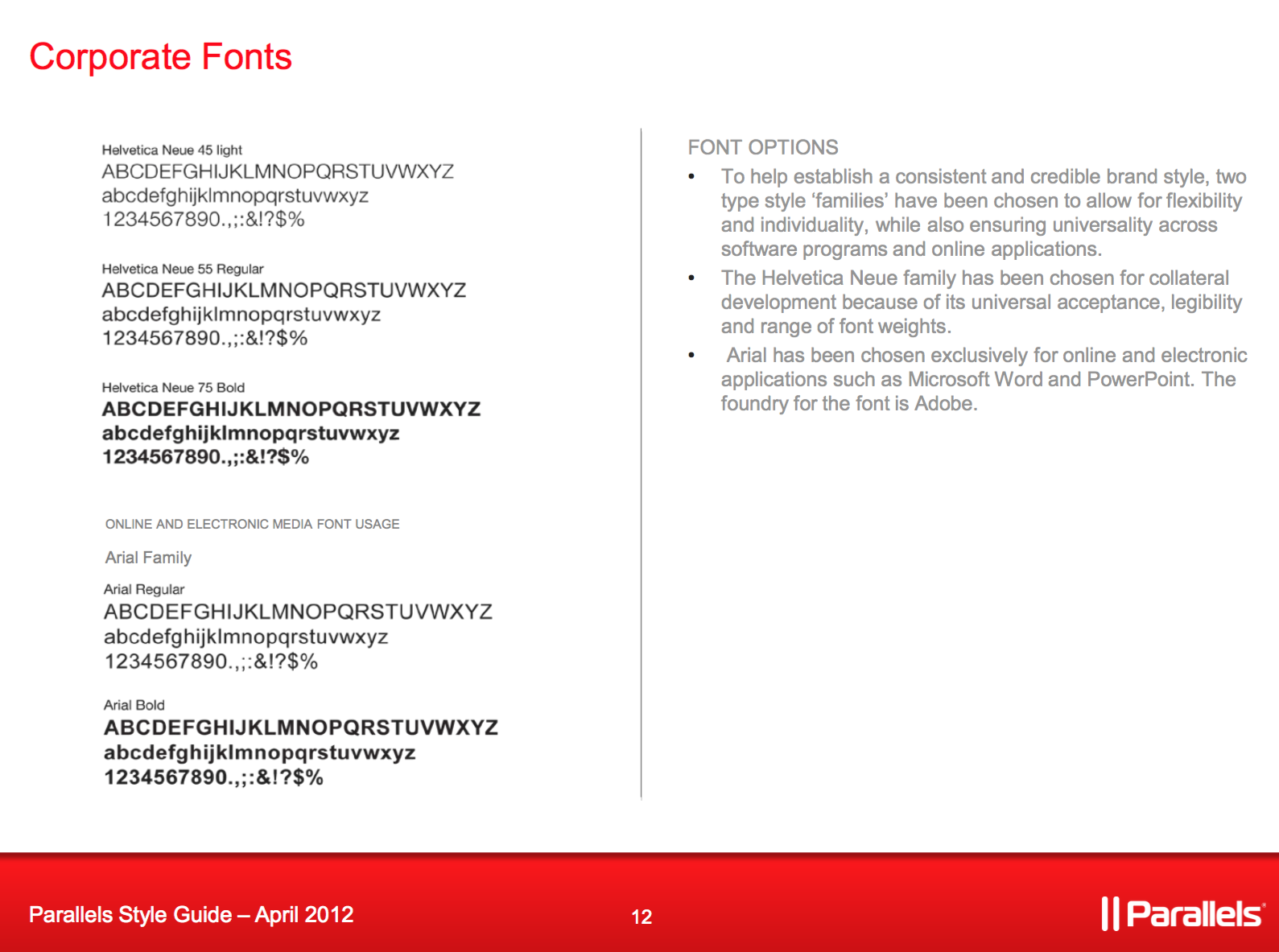 Corporate fonts guide for Parallels