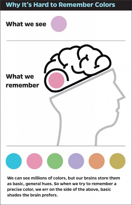 Infographic about why it's hard to remember colors