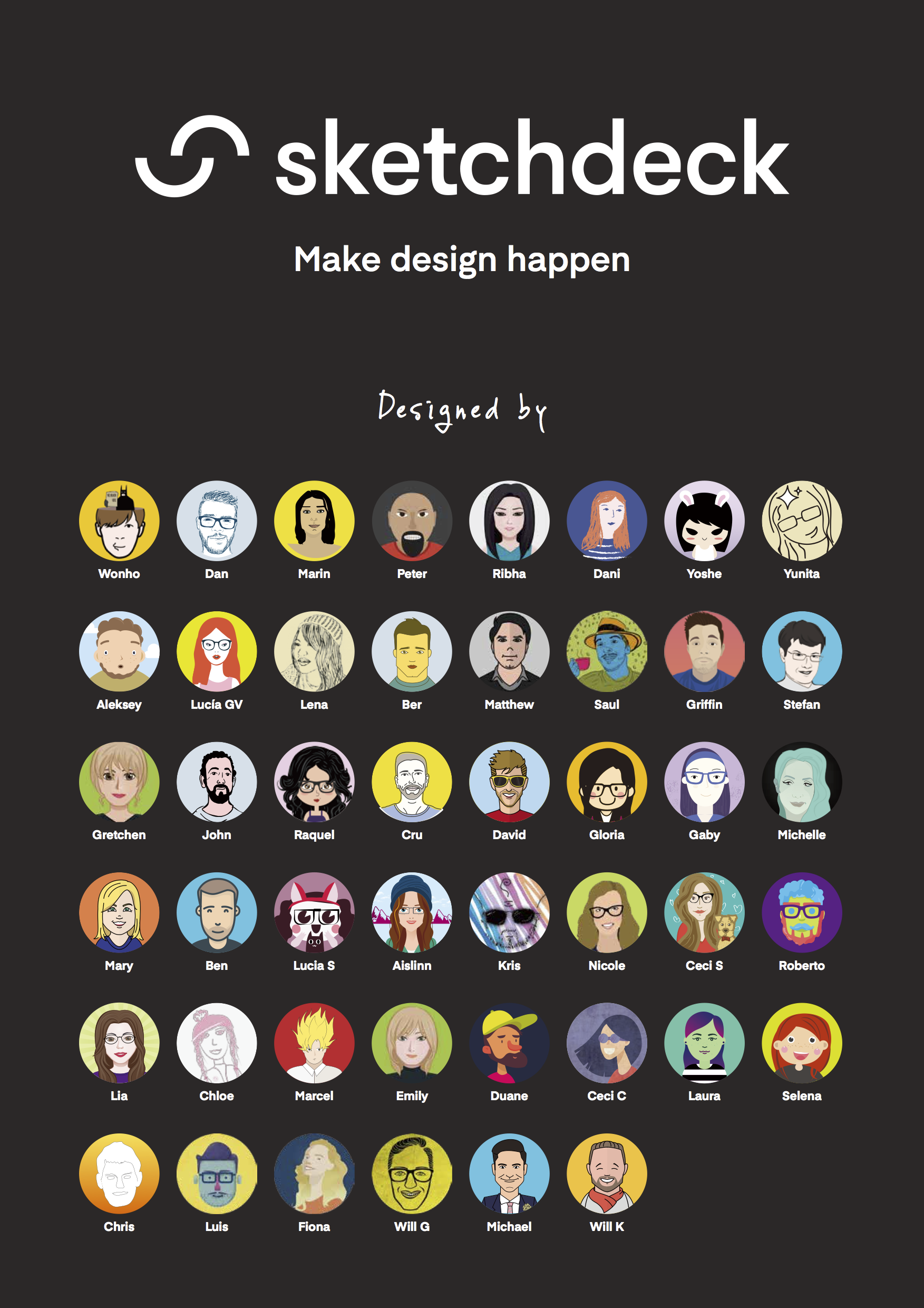 Poster of all the designers who worked on the new brand