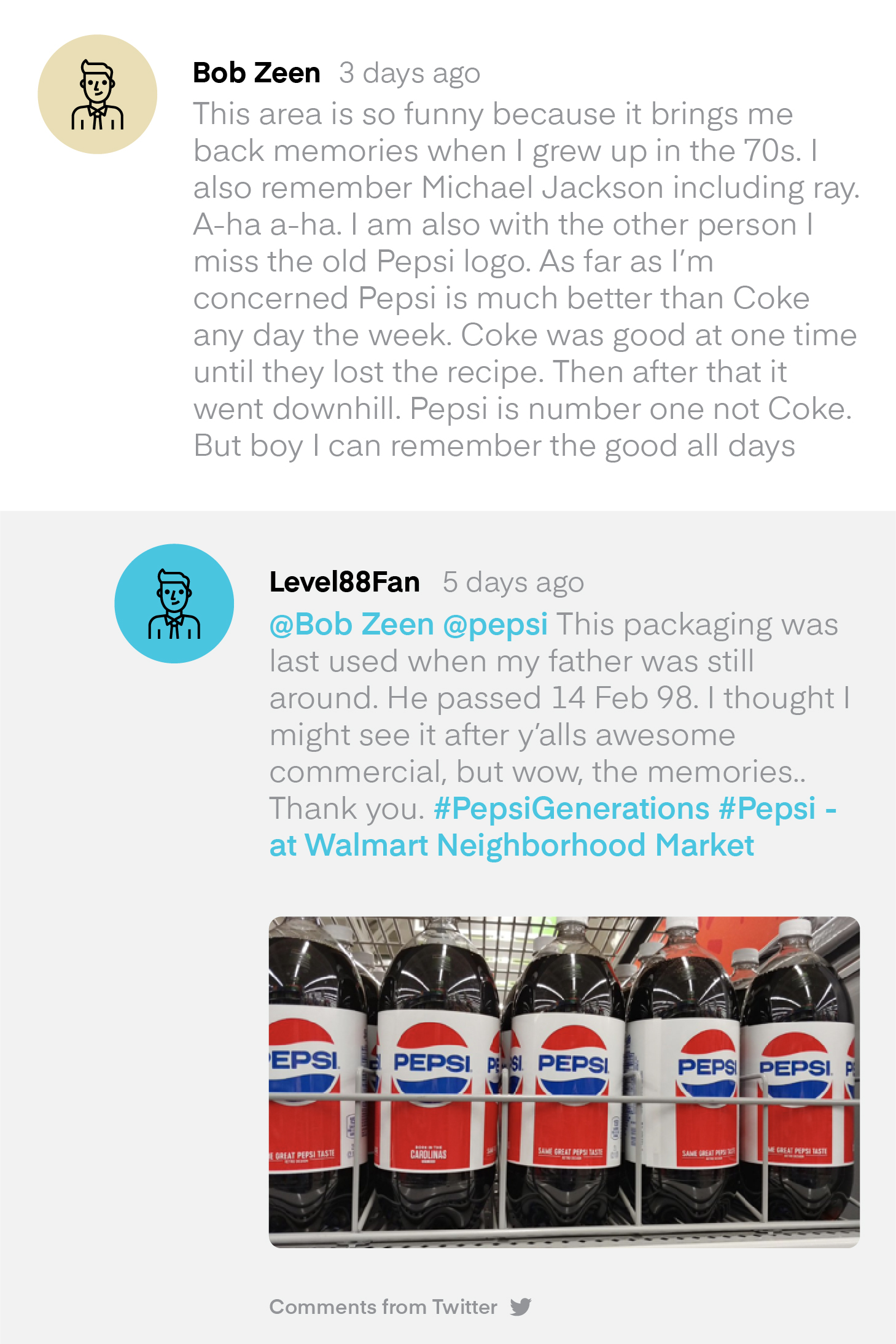 Social comments on a Pepsi video