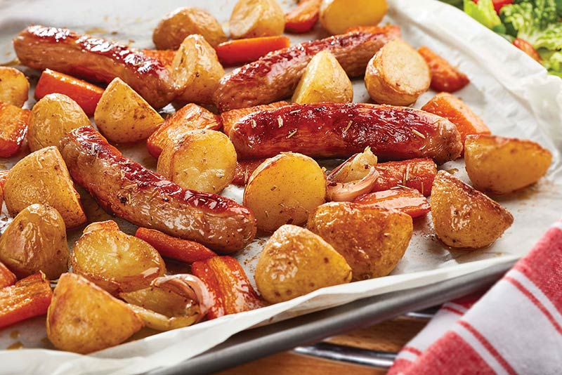 Tray Roasted Sausages, Potatoes & Carrots