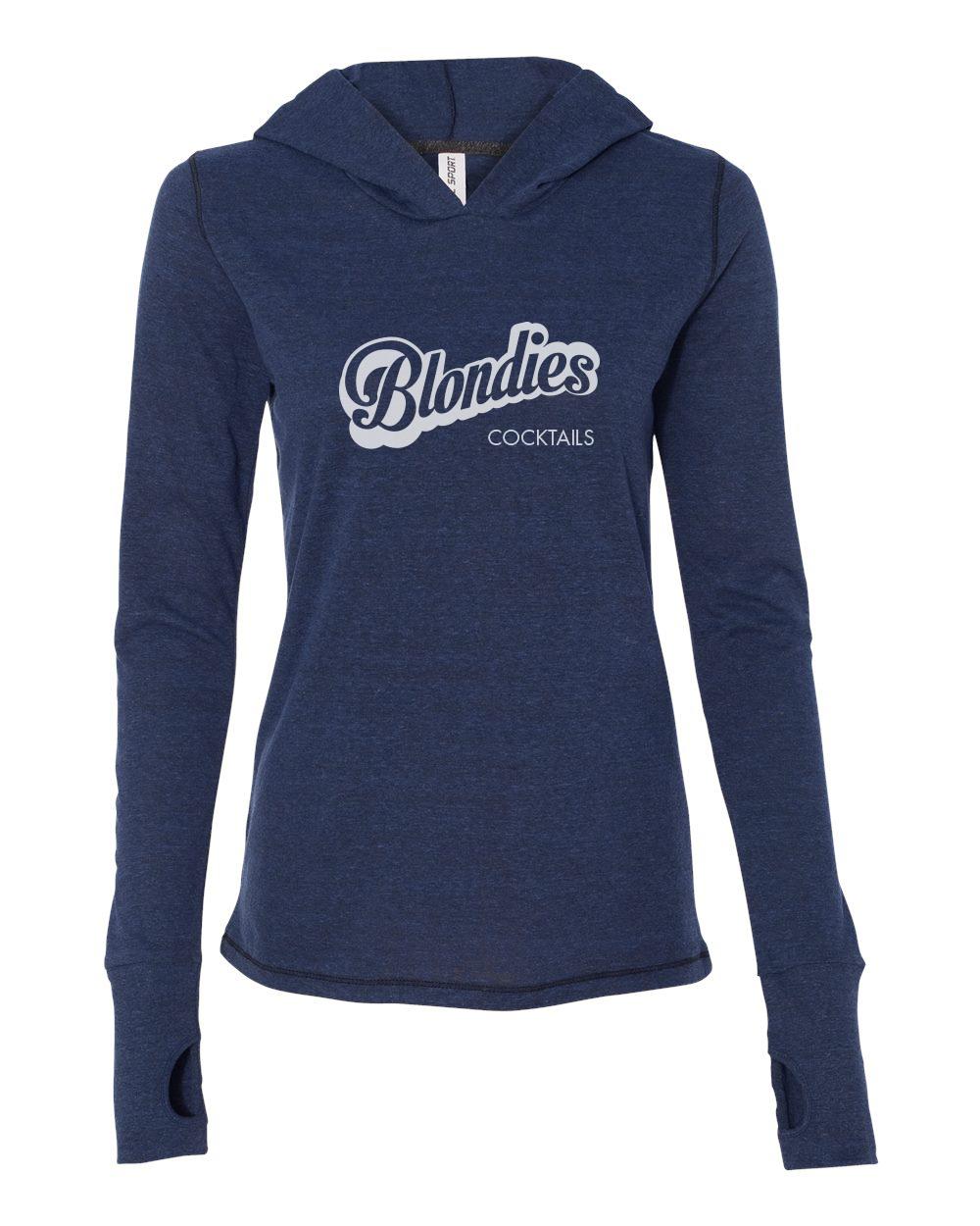 Ladies Thumbhole Hooded Pullover Navy