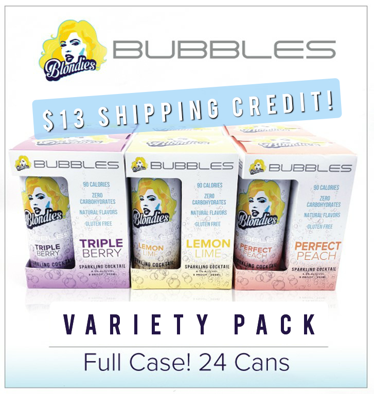 Blondies Bubbles Sample Pack 24 cans Peach, Lemon, Triple Berry