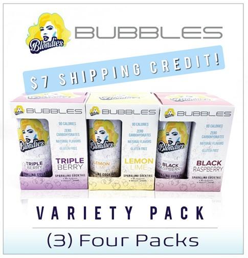 Blondies Bubbles Sample Pack 12 cans Black Raspberry, Triple Berry, Lemon Lime