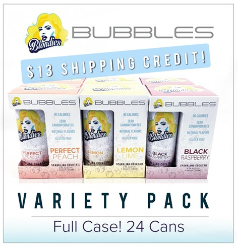 Blondies Bubbles Sample Pack 24 can case Peach, Black Raspberry, Lemon Lime