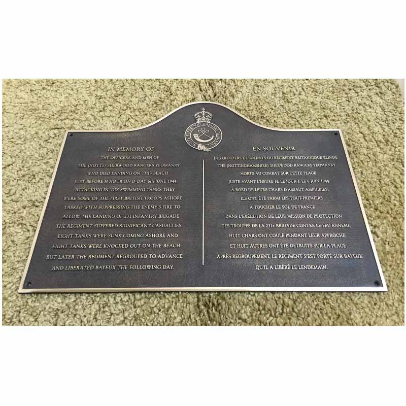 MILITARY PLAQUE23 x 18 bronze Patinated polished letters