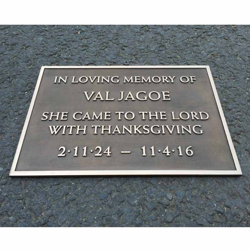 Memorial PLAQUE 13 x 9 bronze Patinated flat background