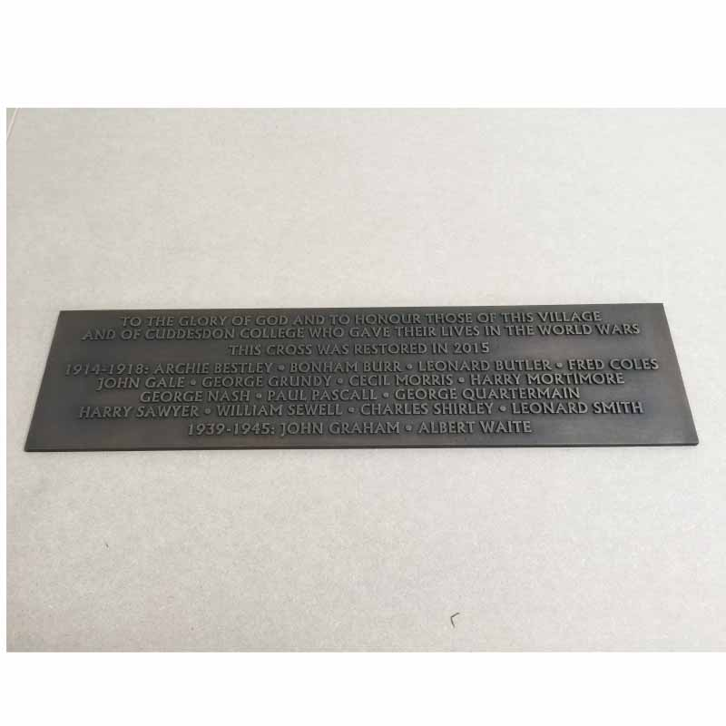 Commemorative PLAQUE24 x 6 bronze Patinated flat background