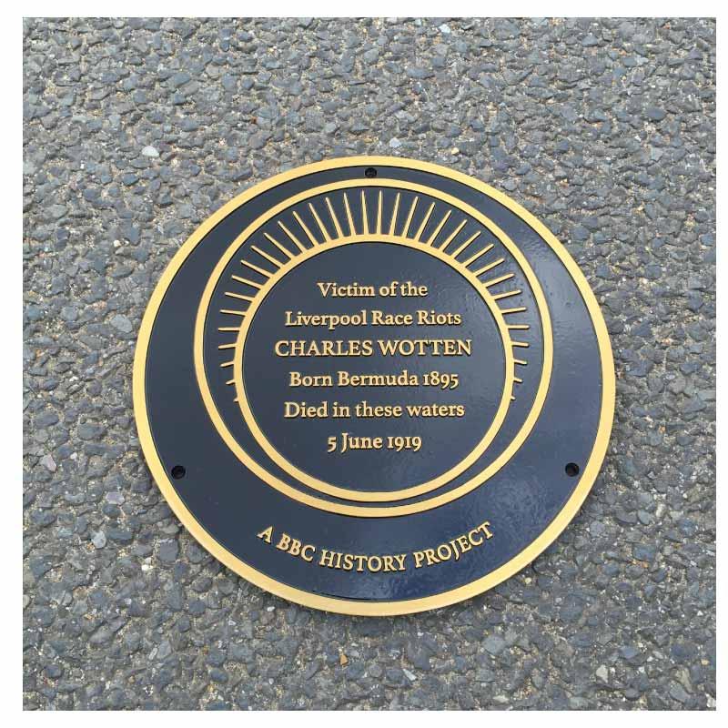 "Commemorative PLAQUE12"" diaMETER bronze flat black background"