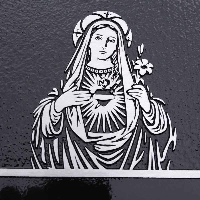 MemorialPLAQUE. Detail Mary. Aluminium black